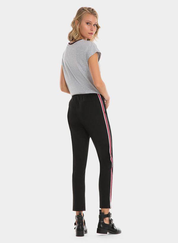 Calças pretas com faixa lateral, para mulher da Tiffosi
