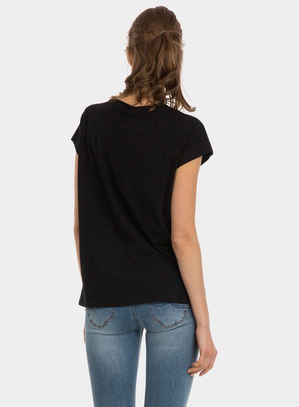 T-shirt preta com brilhantes para mulher da Tiffosi