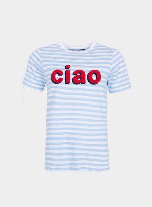 T-shirt riscas e laço nas mangas para mulher da Tiffosi