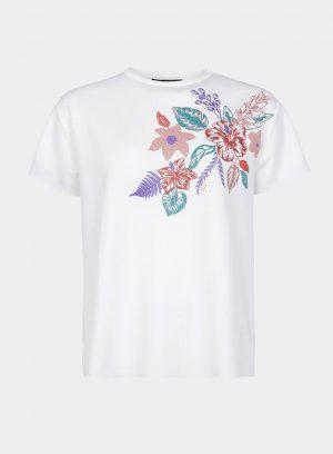 T´shirt branca com flores aplicadas para mulher da Tiffosi