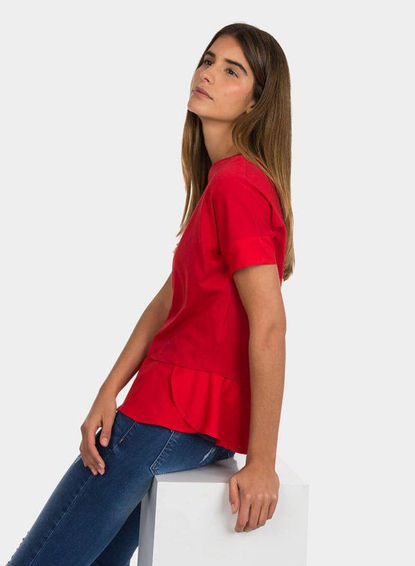 T-shirt vermelha combinada para mulher da Tiffosi