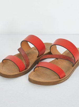 Sandália vermelha com tira envies da Surkana