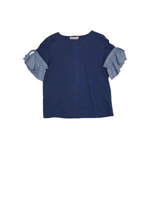 T-shirt azul com folho de xadrez para mulher da Md`m