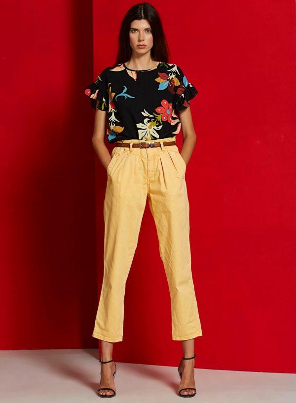 Túnica print floral com manga curta para mulher da Md`m