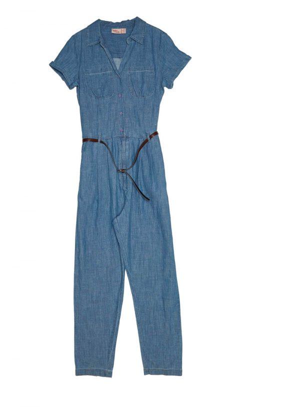 Macacão de ganga com manga curta para mulher da Md`m