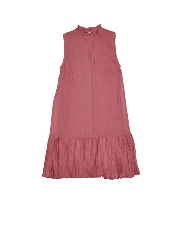 Vestido rosa de cavas e pregas da Md`m