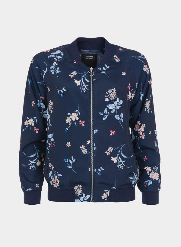 Bomber azul com print floral da Tiffosi
