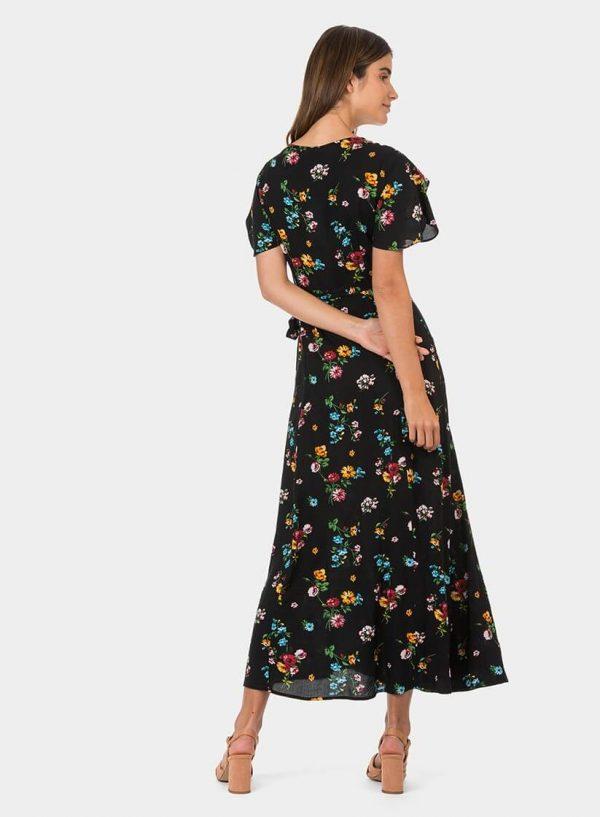 Vestido traçado preto com print floral da Tiffosi