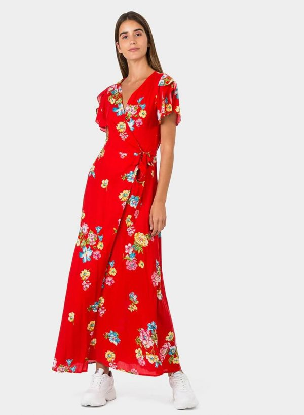 Vestido traçado vermelho com print floral da Tiffosi