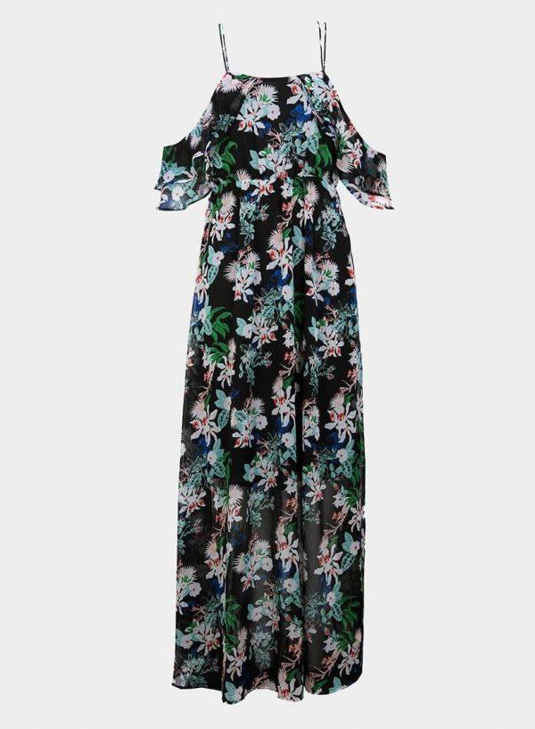 Vestido comprido preto com print floral da Tiffosi