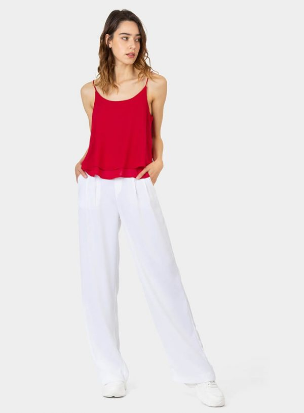 Calças largas em branco para mulher da Tiffosi