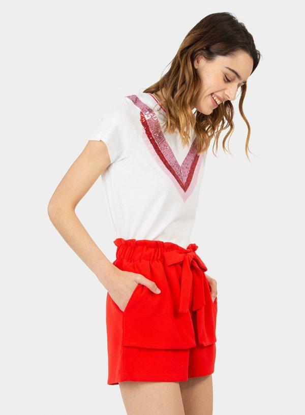 Calção vermelho com bolsos grandes para mulher da Tiffosi