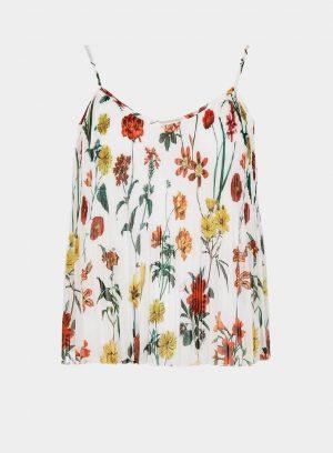 Top plissado com print floral para mulher da Tiffosi