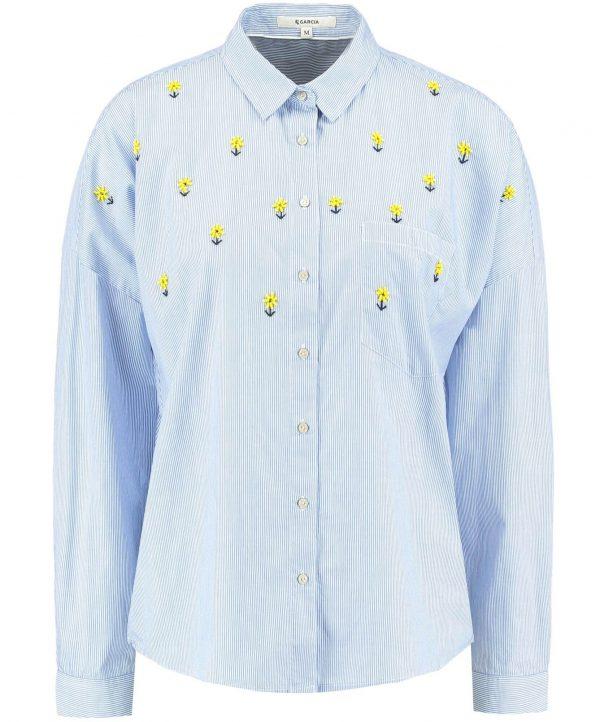 Camisa re risca com flores em missangas para Mulher da Garcia