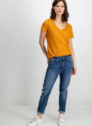 T-shirt laranja translúcido para mulher da Garcia de Jeans