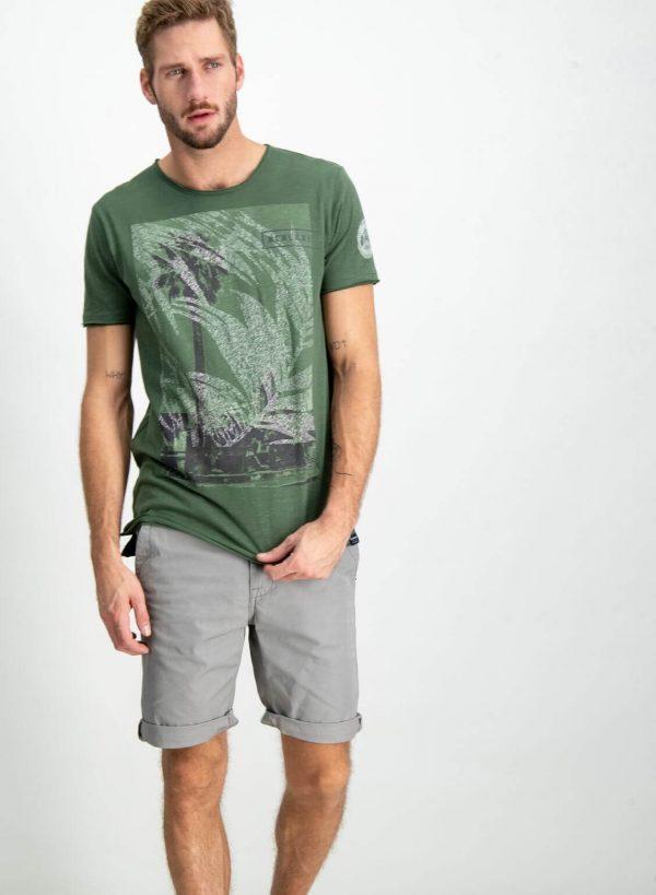 T-shirt verde com print frontal para homem da Garcia Jeans
