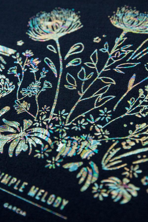 T-shirt azul com print ramo floral para mulher da Garcia Jeans
