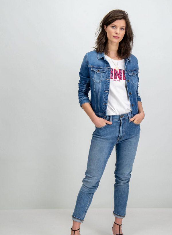T-shirt branca com matérias rosa para mulher da Garcia Jeans