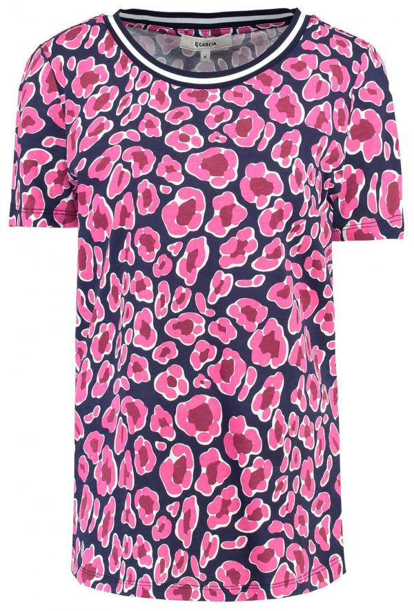 T-shirt rosa com print pantera para mulher da Garcia Jeans