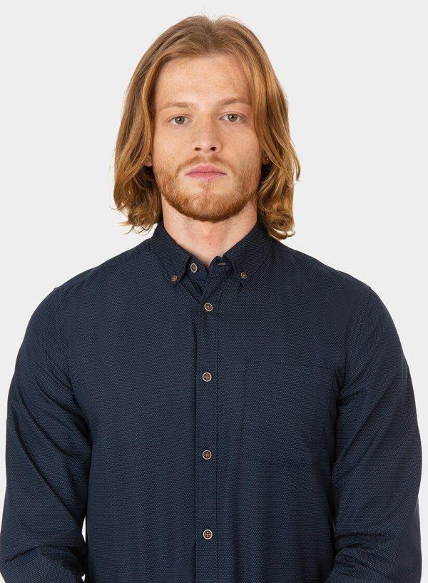 Camisa slim fit azul marino para homem da Tiffosi