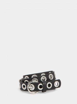 Cinto preto com argolas de metal para mulher da Tiffosi