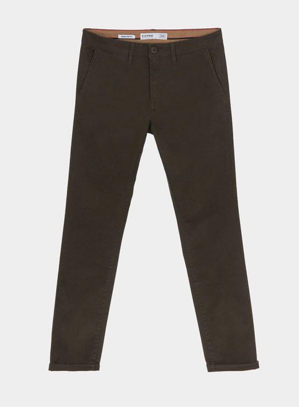Calças chino slim fit em kaki para homem da Tiffosi