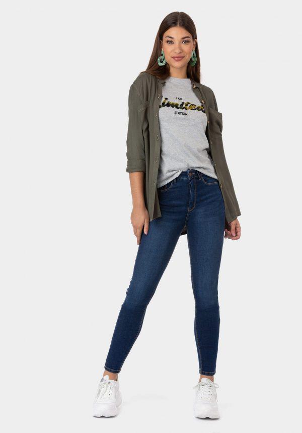 T-shirt cinza com inscrições tropa para mulher da Tiffosi