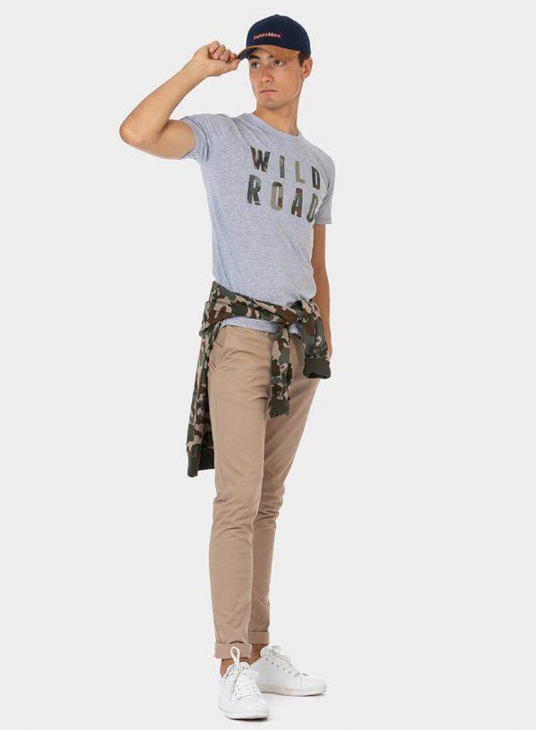 T-shirt cinza com inscrição camuflada para homem da Tiffosi