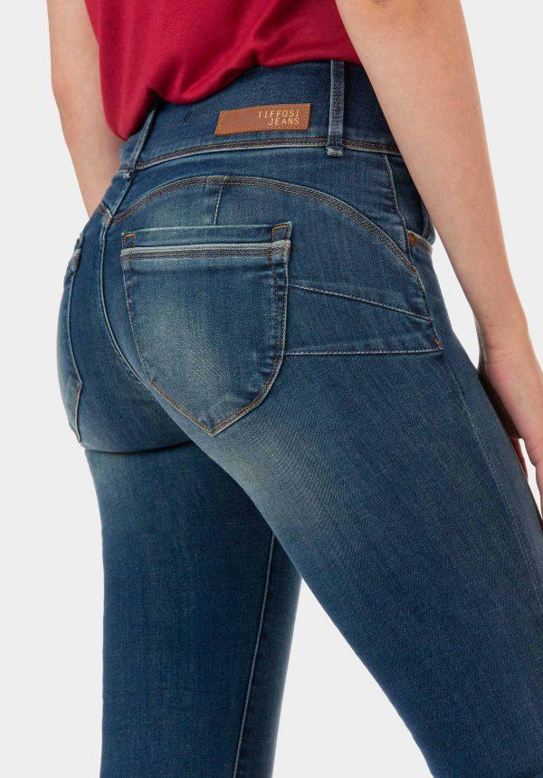 Calças de ganga double up clariado para mulher da Tiffosi