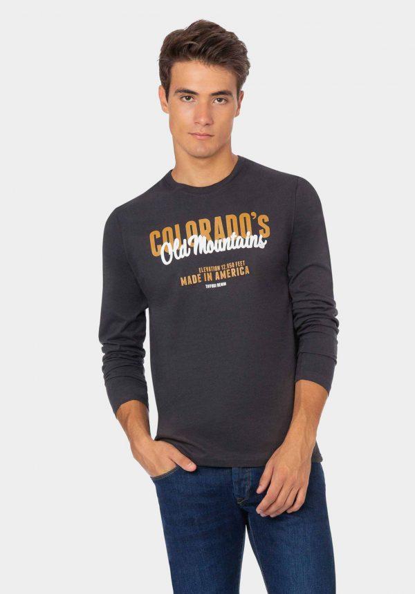 Sweatshirt cinza com inscrições na frente para homem da Tiffosi