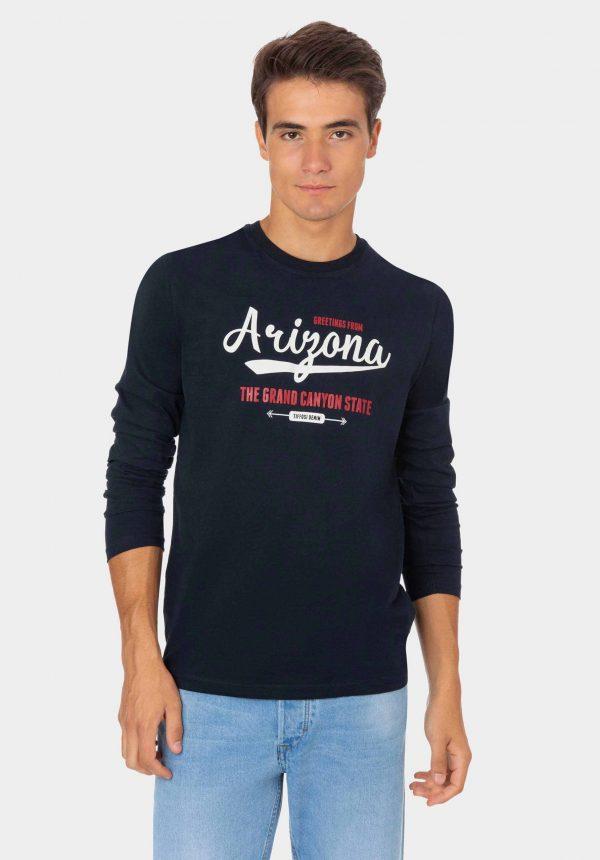 Sweatshirt azul com inscrições na frente para homem da Tiffosi