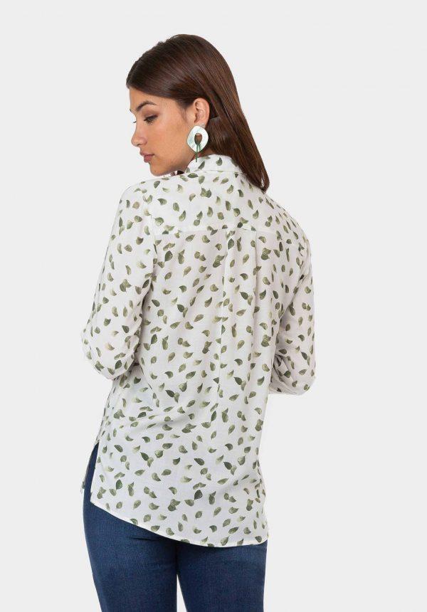 Camisa branca com print folhas para mulher da Tiffosi