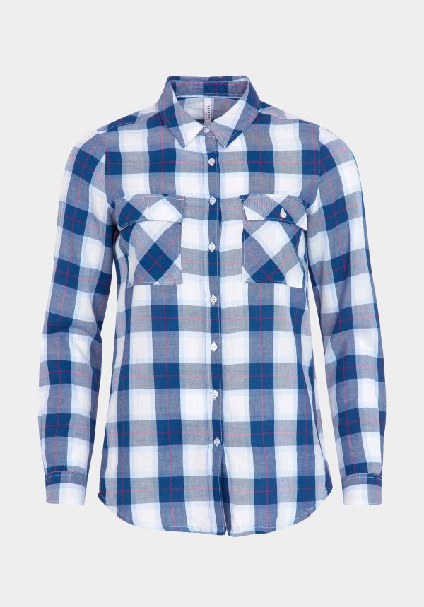 Camisa em xadrez azul com bolsos para mulher da Tiffosi