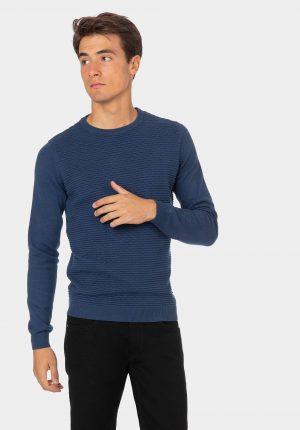 Camisola azul petróleo com decote redondo para homem da Tiffosi