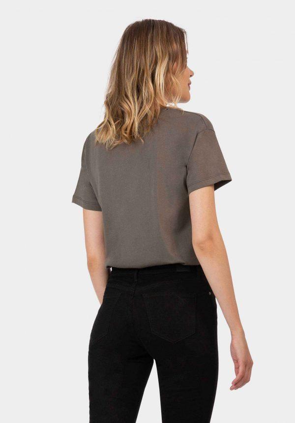 T-shirt kaki com estampa aveludada para mulher da Tiffosi