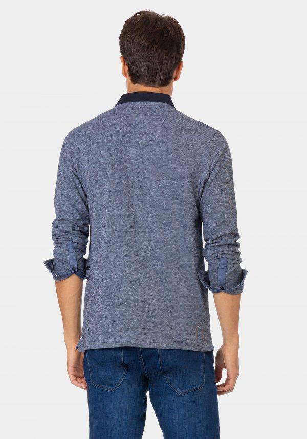 Polo azul com bolso e manga comprida para homem da Tiffosi