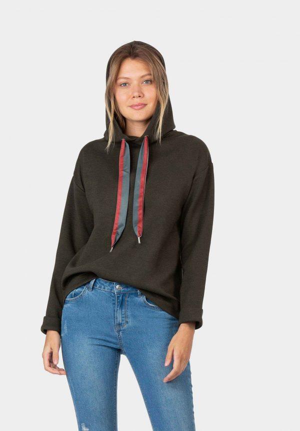 Camisola com capuz e tira colorida para mulher da Tiffosi