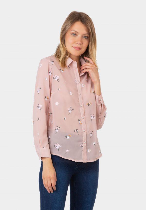 Camisa rosa com flores bordadas para mulher da Tiffosi