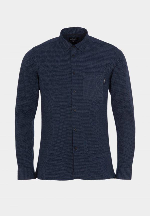 Camisa azul com bolso de chapa para homem da Tiffosi