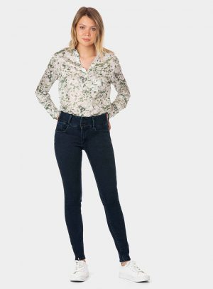 Calças de ganga double-up skinny para mulher da Tiffosi