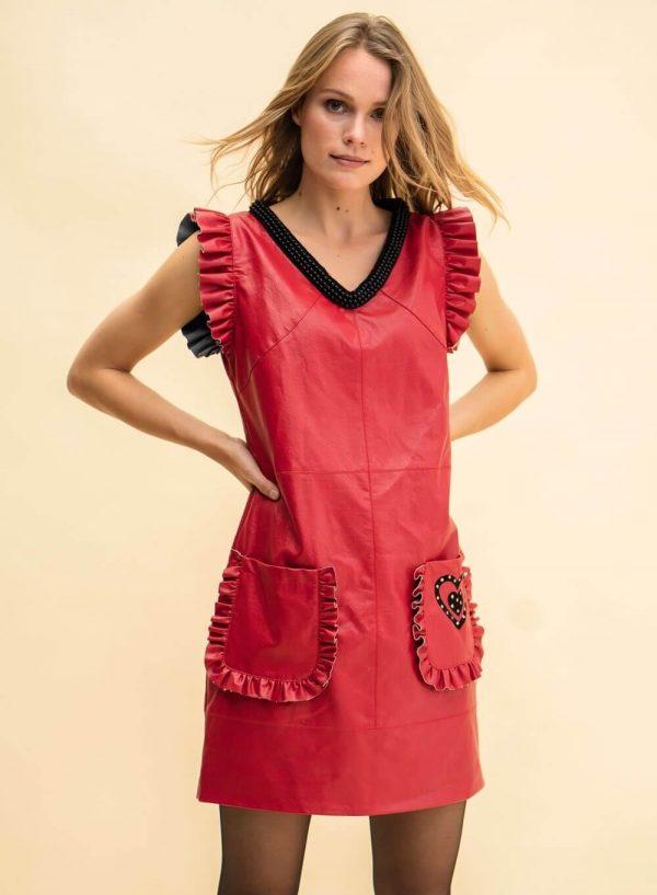 Vestido vermelho em pele sintética para mulher da Rosalita Mc Gee