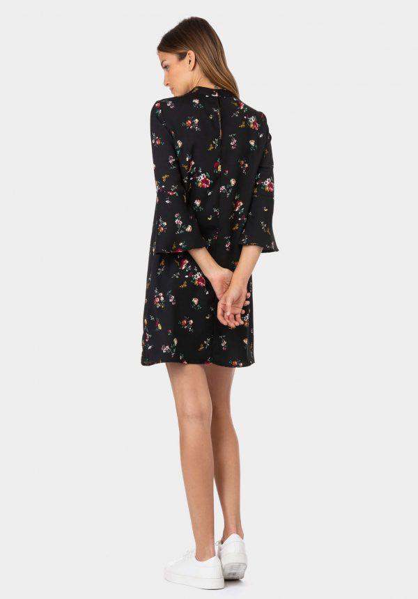 Vestido preto com print floral para mulher da Tiffosi