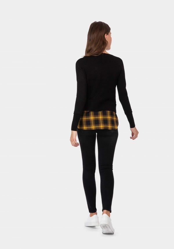 Camisola preta com aba em xadrez para mulher da Tiffosi