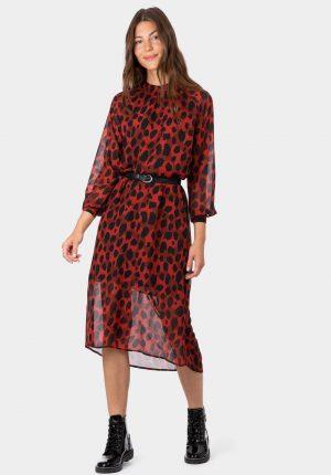 Vestido bordô comprido com print leopardo da Tiffosi