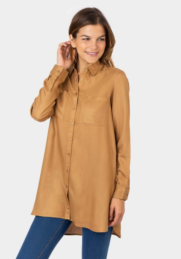 Camisa camel com rachas para mulher da Tiffosi