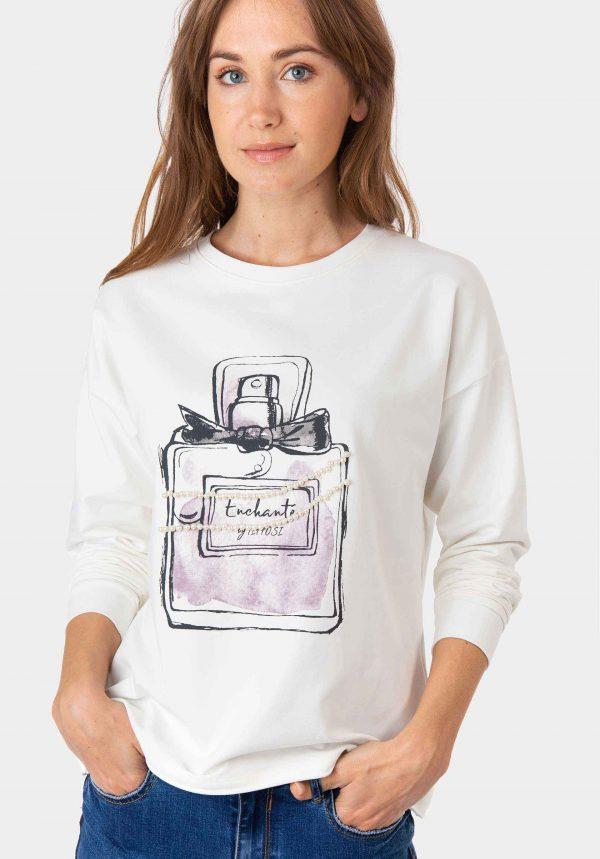 Camisola branca com frasco de perfume para mulher da Tiffosi
