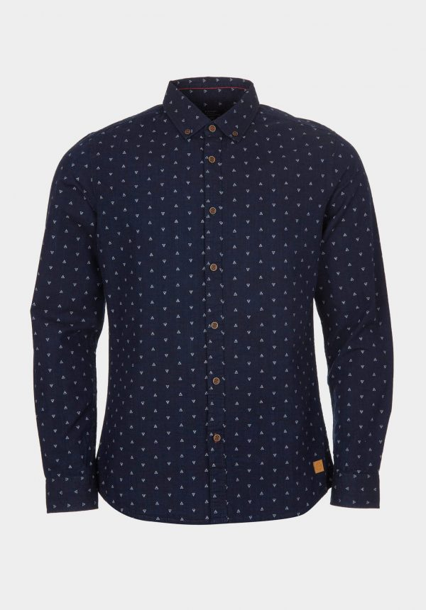 Camisa azul marino slim fit para homem da Tiffosi