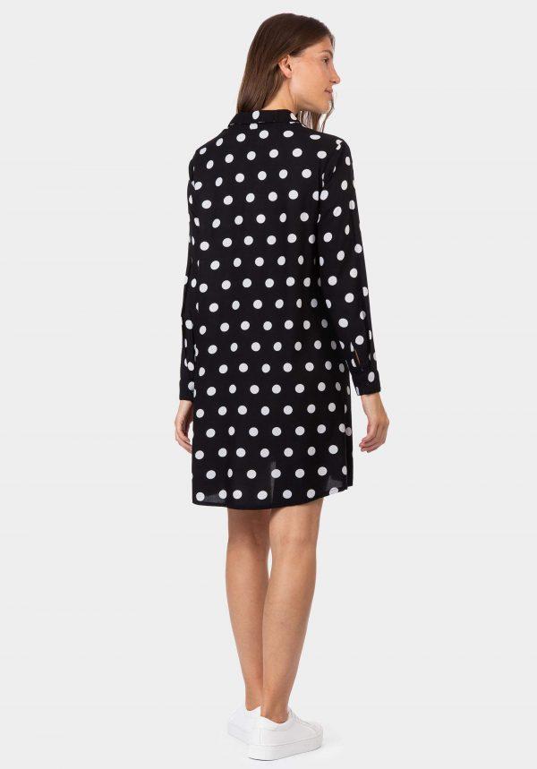 Vestido/Túnica preta com bolas brancas da Tiffosi