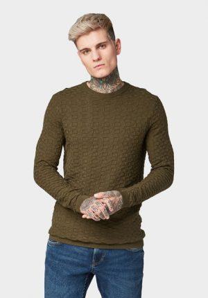 Camisola verde com padrão estruturado para homem da Tom Tailor