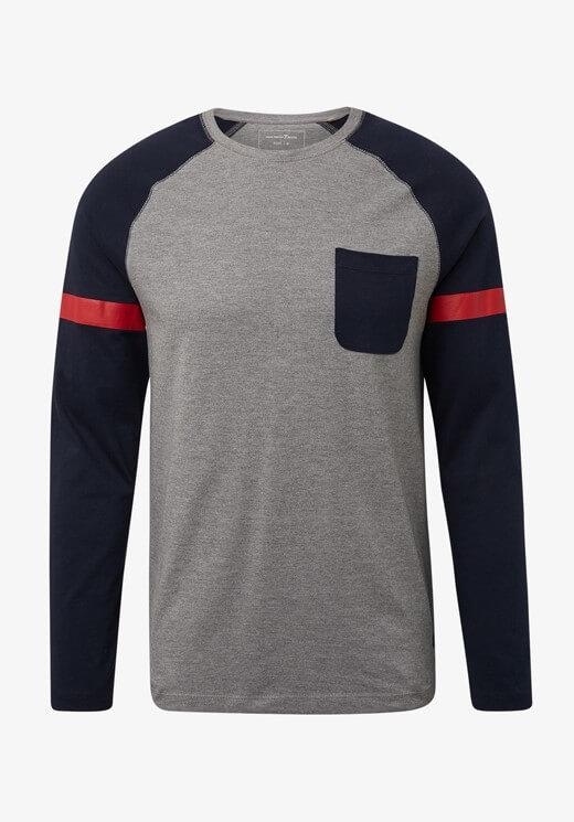 Sweatshirt cinza e azul com bolso para homem da Tom Tailor